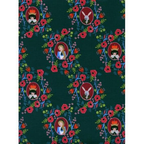 AB8014-001 Wonderland - Cameos - Green Fabric- Rifle Paper Co.- Cotton and Steel/RJR- Sold by the 1/2 yard or the yard