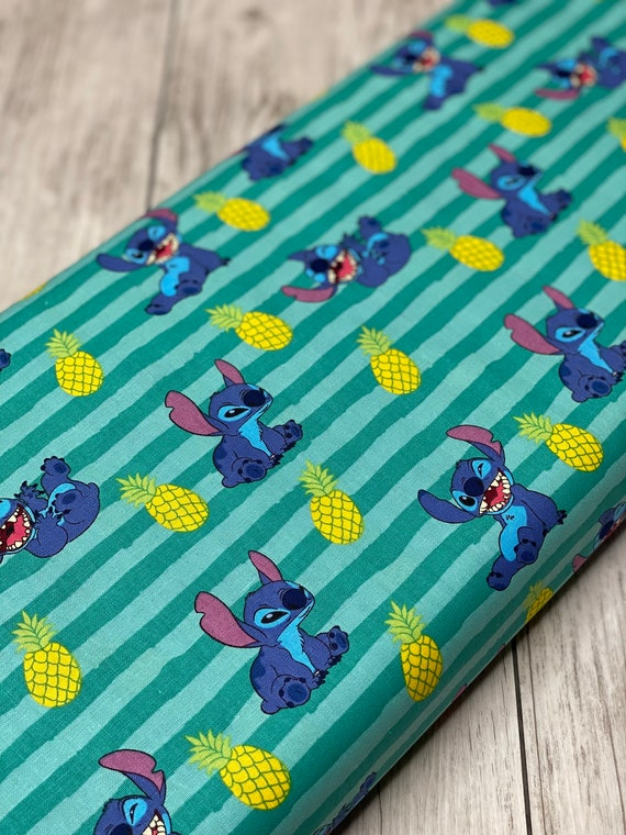 Stitch Pineapple-Stripe Fabric - Disney Lilo & Stitch Collection from Springs Creative - 100% COTTON- sold by the 1/2 yard or the yard