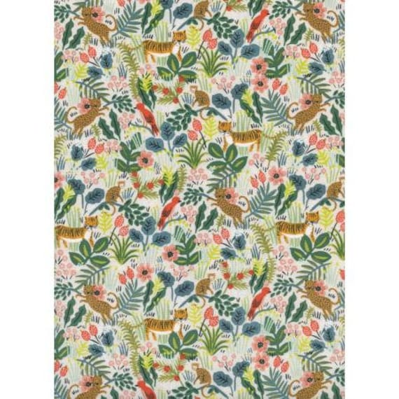 Menagerie - Jungle - Natural Unbleached Cotton Fabric- AB8029-002- Rifle Paper Co- Cotton + Steel/RJR- sold by the 1/2 yard or the yard