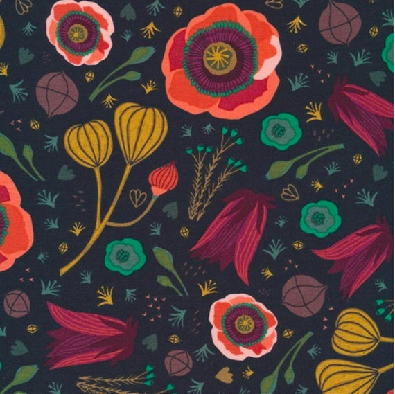 Dark Blooms,  Forest Jewels, By Kate Merritt for Cloud9 Fabric, Organic Quilting Cotton, Sold by the 1/2 yard or the yard