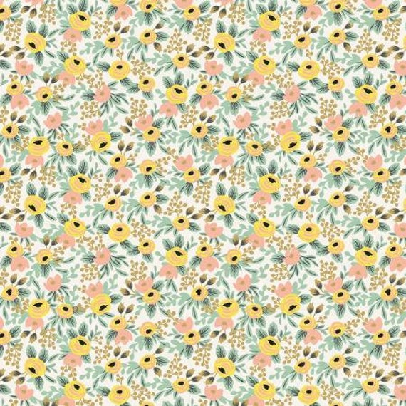 Primavera - Rosa, Cream Fabric, Rifle Paper Co, for Cotton and Steel/RJR, sold by the 1/2 yard or the yard