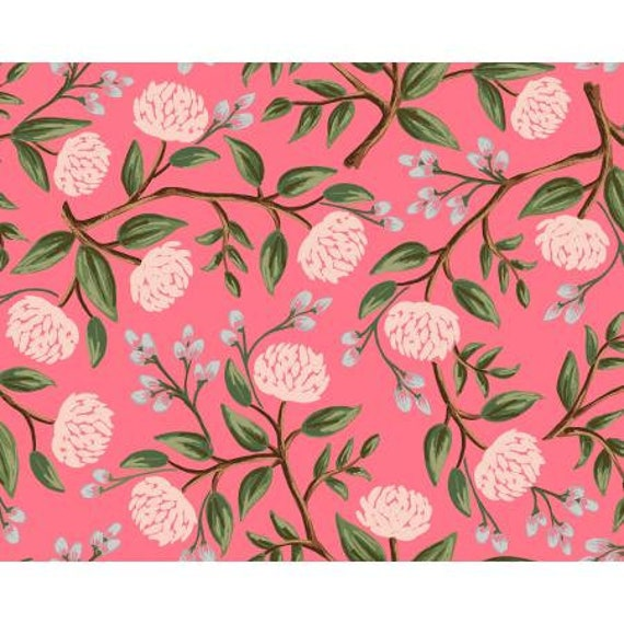 Rifle Paper Co. Wildwood Peonies - Pink Fabric, Sold by the 1/2 Yard or the yard -Cut Continuously