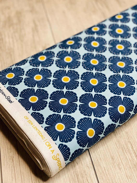 On a Spring Day - Blossom - Light Blue Fabric- LV402-LB2 - Cotton and Steel- RJR- Sold by the 1/2 yard or the yard