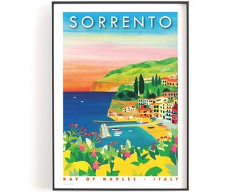 SORRENTO SUNSET, Italy print A5 or A4    Printed on textured paper with a thin white border.