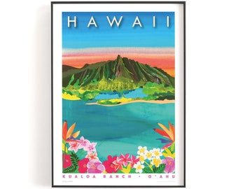 HAWAII, Kualoa Ranch print A4 or A5    Printed on textured paper with a thin white border.
