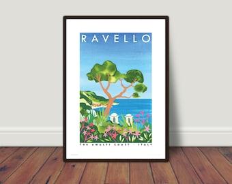 RAVELLO, Italy print A5 or A4, view of Amalfi Coastline