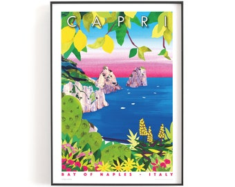 CAPRI, Italy print A5 or A4   Printed on textured paper with a thin white border.