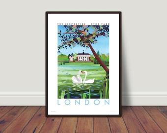 LARGE GICLEE PRINT London, Hyde Park. London travel poster   London print   Swan print   Swan art   Hyde park print   large format print