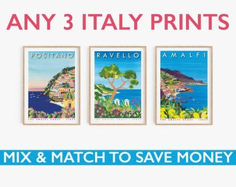 Any three A3 Italy prints, printed on textured paper with a thin white border.