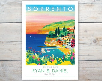 Sorrento save the dates. 5x7 inch card with lemons, sunset