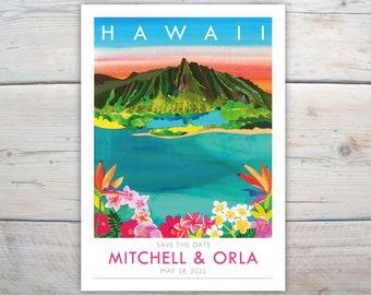 Hawaii save the dates. 5x7 inch card with frangipani, Oahu