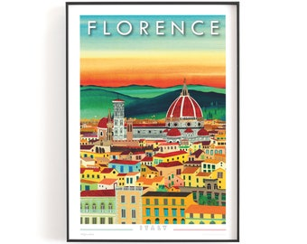 FLORENCE, Italy print A3   Printed on textured paper with a thin white border.