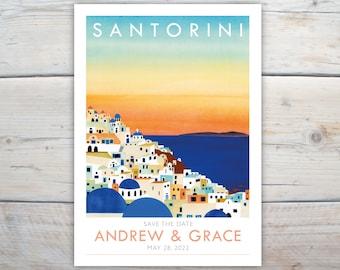 Santorini save the dates. 5x7 inch Greece destination wedding