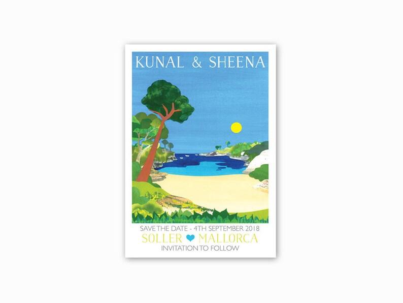 beach wedding PRINT AT HOME Mediterranean beach. Mallorca Hidden Beach Save the dates Spain Destination wedding Single sided