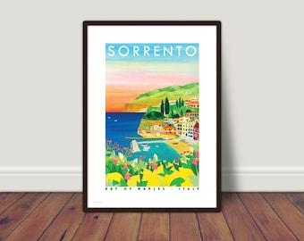 SORRENTO PRINT A5 or A4. Sorrento sunset travel poster   Sunset   Lemons   Sorrento print   Amalfi Coast print   A4 print