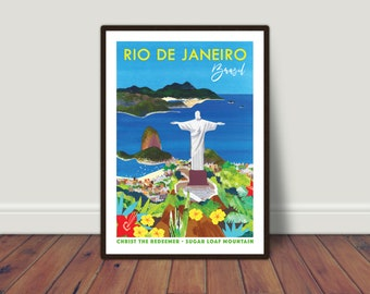 RIO PRINT A3. Rio De Janeiro, Brazil   Rio print   Brazil art   Rio travel poster   Brazil travel poster   Sugarloaf Mountain