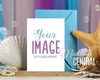 Blank White Invitation Card Mermaid Mockup Design Birthday