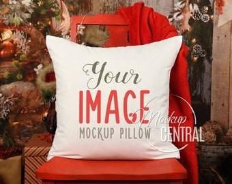Blank White Square Mockup Christmas Pillow, Festive Chair Photo Mock Up, Mockup Throw Pillow, Styled Stock Photography, JPG Instant Download