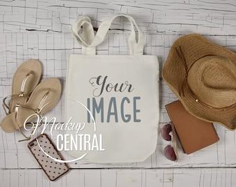 Blank White Canvas Tote Bag Mockup, Summer Beach Shopping Bag Mock Up, Styled Stock Photography Mockup on Wood, JPG Digital Download