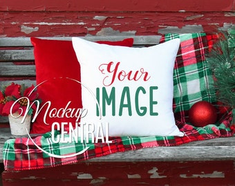 Christmas Mockup Pillow, Rustic Festive Chair Photo Mock Up, Blank White Square Throw Pillow, Styled Stock Photography, JPG Instant Download