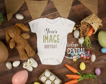 Download Free Baby White Blank Easter Bodysuit Mockup, Infant One Piece Stock Photography Mock up, Flat Top View on Wood Background, JPG Download PSD Template