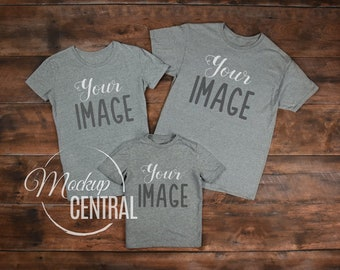 Download Free Matching Family Blank Gray T-Shirt & Youth Child Shirt Mockup, Stock Photography Grey Mock Up Shirts, Top View Wood Background, JPG Template PSD Template