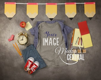 Download Free Blank Gray Youth Child Toddler School T-Shirt Mockup, Graduation Clothing Styled Stock Photography, Flat Grey Mock Up Shirt, Top View JPG PSD Template
