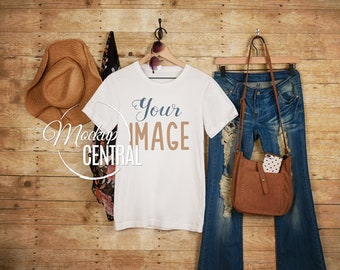 Download Free Woman's Blank White Bella Canvas T-Shirt Apparel Mockup, Girl Fashion Design Stock Photography on Hanger, Mock Up Shirt ackground, JPG File PSD Template