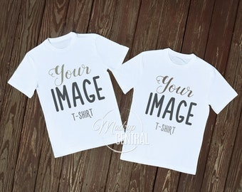 Download Free Matching Couple Twin Blank White T-Shirts Clothing Design Mockup, Stock Photography, Mock Up Shirt, Top View Wood Background, JPG Template PSD Template