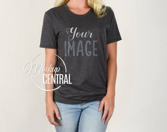 Download Free Blank Heather Gray Woman's T-Shirt Apparel Mockup, Fashion Design Stock Photography, Grey Mock Up Shirt, White Background - Women's TShirt PSD Template