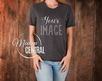 Download Free Blank Gray Women's T-Shirt Apparel Mockup, Fashion Design Styled Stock Photography, Girl's Grey Mock Up Shirt, Wood Background, JPG Download PSD Template