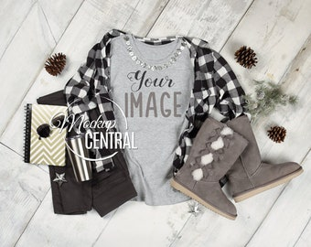 Download Free Women's Crew Neck Blank Gray T-Shirt Apparel Winter Mockup Top View, Fashion Styled Christmas Mock Up Plaid Shirt Photography, JPG Download PSD Template