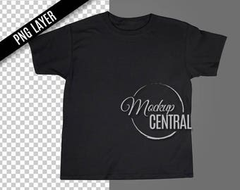 Download Free Transparent PNG Blank Black T-Shirt Apparel Mockup, Fashion Design Styled Stock Photography, Mock Up Shirt, Top View, Photoshop Cutout Layer PSD Template