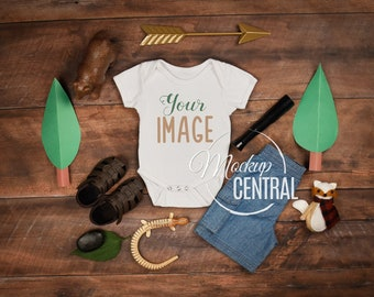 Download Free Baby Blank White Onepiece Country Rustic Mockup, Design Styled Stock Photography, Baby Mock Up - Flat, Top View, Wood Background - JPG File PSD Template
