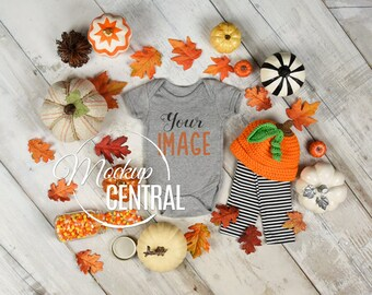 Download Free Blank Gray Baby Fall One Piece Body Suit Mockup, Halloween Styled Stock Photography Mock up, Flat Top View on Wood Background, JPG Download PSD Template