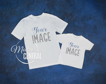 Download Free Father's Day Matching Blank White T-Shirt Toddler Youth Shirt Mockup, Styled Stock Photography, JPG Mock Up Shirts, Top View Background PSD Template