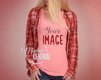 Download Free Blank Women's Pink Hip T-Shirt Apparel Mockup, Fashion Design Styled Stock Photography, Girl's Mock Up Shirt, Pink Background, JPG Download PSD Template