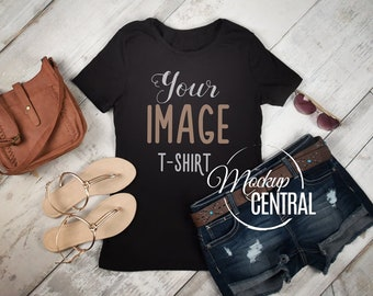 Download Free Blank Woman's Black T-Shirt Apparel Mockup, Fashion JPG Styled Stock Photography, Summer Flat Top View Mock Up Shirt on Wood Background PSD Template
