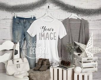 6975bdfe1 Blank White Woman's T-Shirt Christmas Winter Apparel Mockup, Stock ...