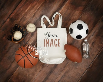 Download Free Blank White Canvas Tote Bag Mockup, Football, Soccer, Sport Theme Bag Mock Up, Styled Stock Photography Mockup on Wood, JPG Digital Download PSD Template