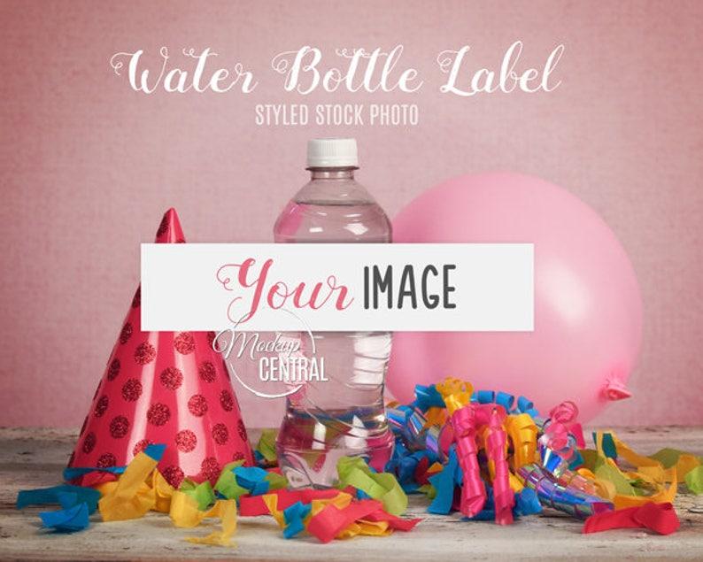 Blank Water Bottle Label Mockup, Water Bottle Birthday Party Favor Mockup,  Design Styled Photo Mock Up, Mock up Template, Digital JPG Photo
