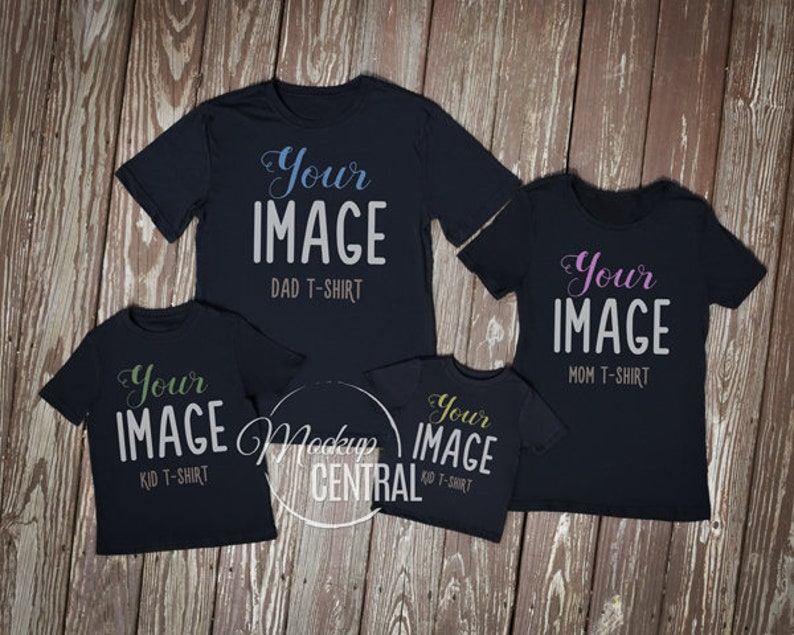 Matching Family Blank Black T-Shirt and Baby Onsie Mockup, Styled Stock  Photography, Mock Up Shirts, Top View Wood Background, JPG Template