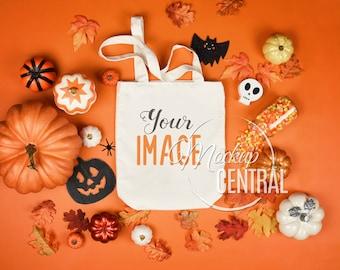 Blank White Canvas Tote Bag Mockup, Fall Halloween Shopping Bag Mock Up, Styled Stock Photography Mockup, JPG Digital Download