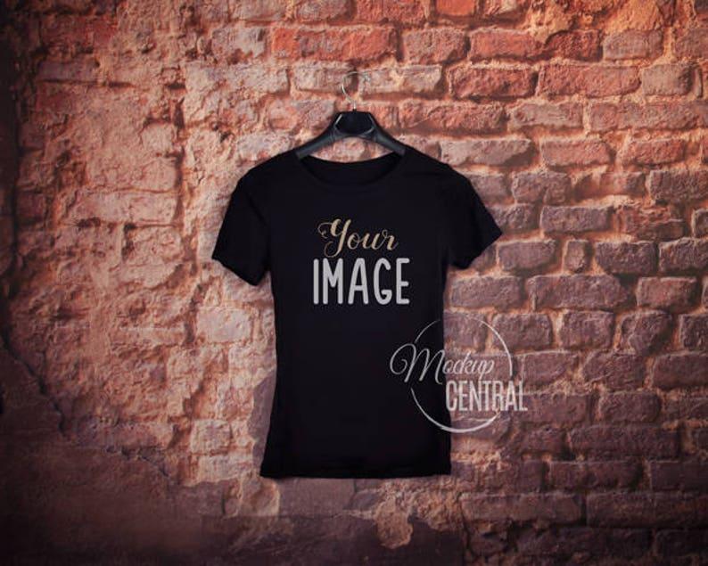 ae59ac9e68 Hanging Blank Black T-Shirt Apparel Mockup Fashion Design | Etsy