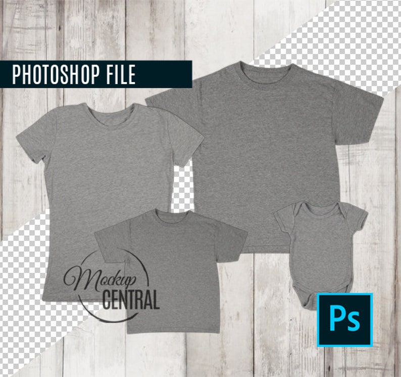 Photoshop Template Matching Family Blank Gray T Shirt And Baby Etsy