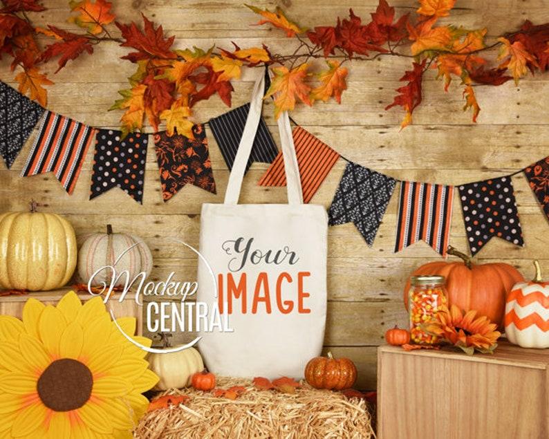 White Canvas Tote Bag Mockup Fall Halloween Blank Shopping Bag Mock Up JPG Digital Download Styled Stock Photography Mockup