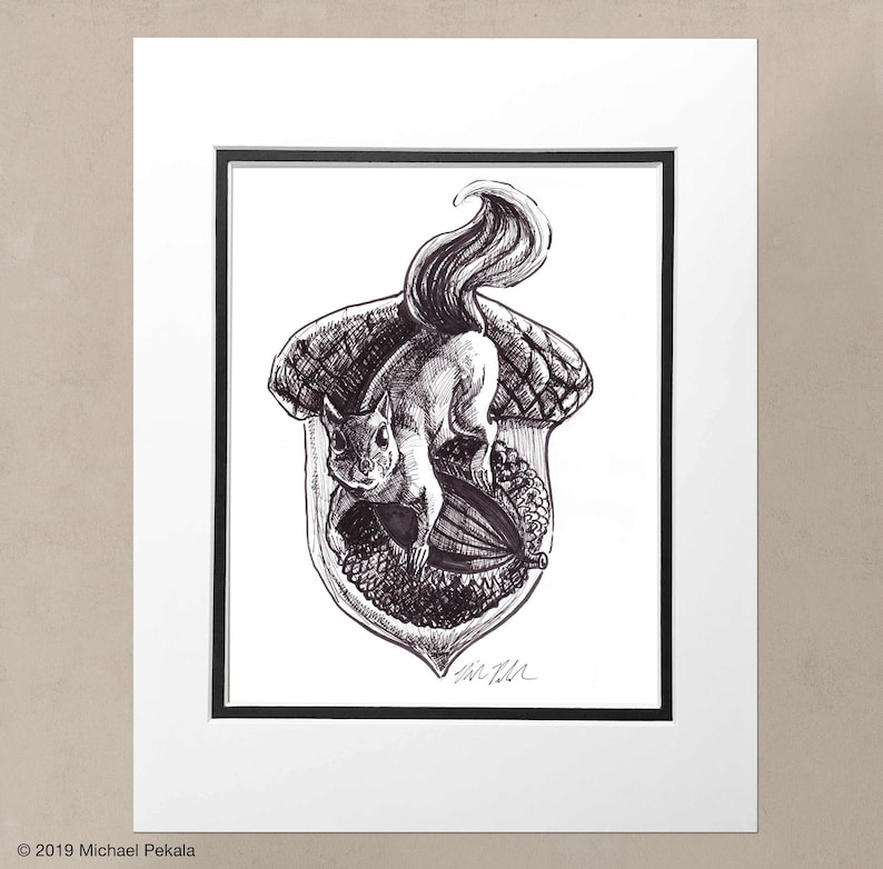 2c63fd0211c The Squirrel, acorn, Pen and ink drawing, illustration, 8x10 print,  archival, black and white print