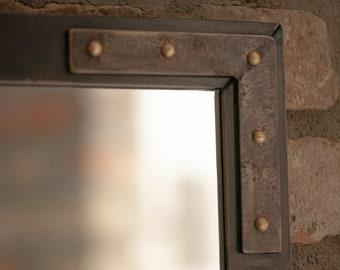 SPIEGEL WANDSPIEGEL RAHMENSPIEGEL Industrial Design Vintage Mirror Frame hairdressing mirror riveted rivet