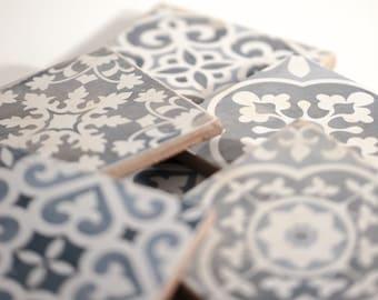 MEDITERRAN CERAMIC TOSCANA 6ErSet Vintage Coasters Shabby Chic Gift