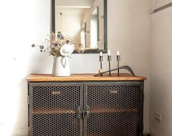 WERKSTATTSCHRANK on cast rollers SIDEBOARD EISENSCHRANK Industrial cabinet tool cabinet metal cabinet Vintage Design Retro Ironworks